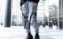新品6.8折!killwinner拼色挂袋工装裤男女束脚裤