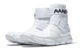 新品!AAPE+字母印花可调织带插扣高帮袜套运动男鞋