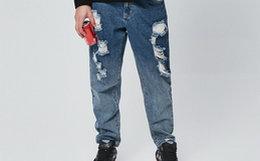 6折!STAND BY水洗破洞磨边宽松男女小脚牛仔长裤