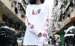 用劵优惠!VANQUISH FR2圆领漫画袖臂汉字印花男女长袖T恤