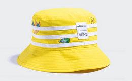 新品!adidas neo撞色条纹小精灵皮卡丘男女渔夫帽子