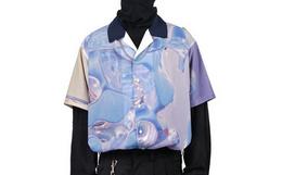 新品!ATTEMPT全幅液态金属雕像印花男短袖衬衫