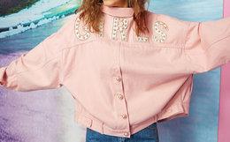 新品4.4折!Material girl珍珠装饰字母贴布粉色牛仔外套
