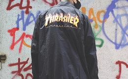 7.7折!Thrasher火焰Logo印花翻领教练夹克男女外套