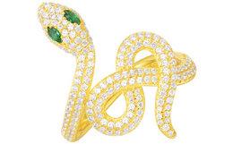 摩纳哥APM Monaco金黄色镶晶钻蛇形戒指