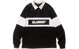 新品!XLARGE方领半拉链拼接撞色logo长袖Polo男衬衫