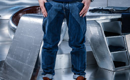 3.5折!蓝布屋KRBL 靛蓝激光水洗修身牛仔裤
