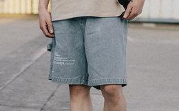 8折!Mostwantedlab 宽松织带字母牛仔短裤男休闲五分裤