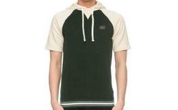 3折!意大利Dolce&Gabbana杜嘉班纳深绿拼白短袖帽衫