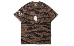 THE CLOTHING ANIMAL 虎纹迷彩军牌刺绣T恤