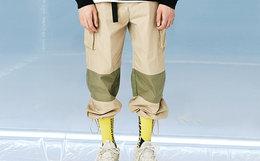 8.2折!letstee直筒宽松拼色反光条工装男束脚裤