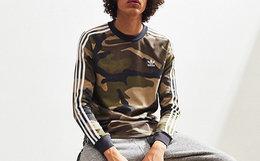 adidas+UO合作款三叶草刺绣迷彩三道杠男长袖T恤