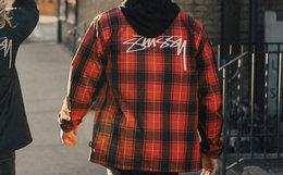 小幅优惠!美潮Stussy红格子Logo印花教练夹克外套