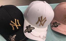 8.8折!韩版MLB朴灿烈同款小蜜蜂刺绣NY弯檐棒球帽