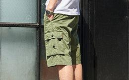 3.3折!DUSTY 直筒宽松贴布大口袋logo织带男工装短裤