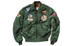 AVIREX L2B棒球领334纪念款徽章男女飞行棉夹克