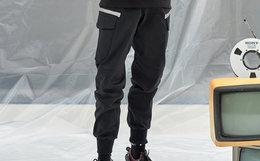 8折!THE WIZ 3M反光刺绣五角星口袋男女工装裤束脚裤
