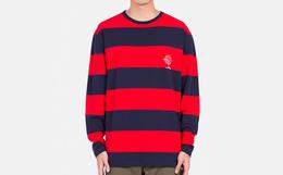 4折!CLOTTEE 红色条纹拼接圆领套头男女同款长袖T恤