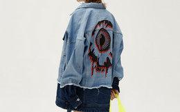 新品100劵!MishkaNYC眼球印花拼色男女牛仔外套