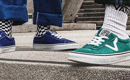 新品!Vans 范斯圆头麂皮走线系带男女低帮运动板鞋