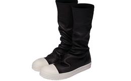 新品!美国RICK OWENS DRKSHDW新款 褶皱撞色男神女神中邦靴