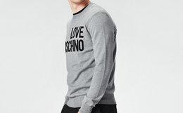 5折!Love Moschino 背后多色字母LOGO印花套头男卫衣