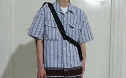 领劵!国潮ATTEMPT泡泡棉蓝色条纹撞色男宽松短袖衬衫