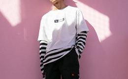 用券!FLOATlab 国潮假两件嘻哈风条纹男女长袖T恤
