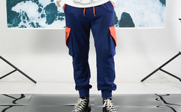 5折!FLOAT 直筒机能多功能口袋logo印花束脚裤男女卫裤