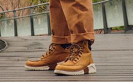 新品领劵!Timberland 添柏岚皮革鞋面拼接鞋领男运动潮靴
