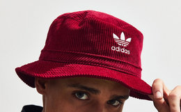 adidas阿迪达斯三叶草灯芯绒刺绣logo男女渔夫帽