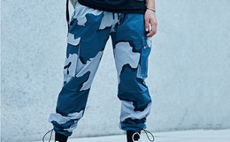 新品9折!KISSFUNK迷彩多口袋抽绳嘻哈工装束脚裤