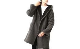 MONO-MART连帽口袋纯色男款抓毛大衣外套