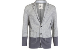 2折!M-GRAPH花灰色拼接平驳领西装外套