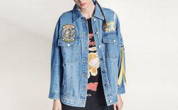 新品7.2折!美潮MishkaNYC撞色织带动物字母贴布绣花牛仔外套