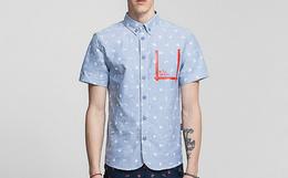THETHING小波点男士潮流短袖衬衫