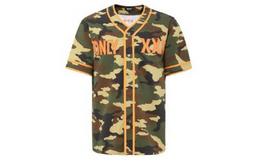 5折!xxxtrenta 军绿迷彩图案字母拼接男短袖棒球衫