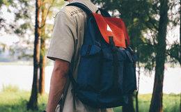7.4折!ACROSS拼色卡扣挂袋男女双肩包旅行包
