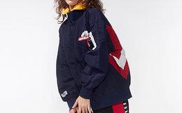 新品用劵!MishkaNYC立领拉链拼接印花防风夹克男女外套