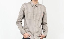 5折!DUSTY潮牌灰色条纹纯棉修身工装衬衫