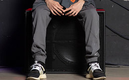 5折!BLACK SCALE 直筒logo小标反光线条束腿裤男运动裤