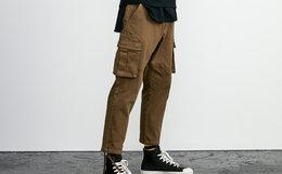 4.9折!Lilbetter直筒纯色挂袋工装裤男休闲裤