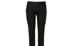 2.5折!德国Philipp Plein黑色立体装饰长裤