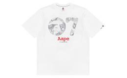新品!Aape7周年特别版灰色迷彩猿颜字母男女短袖T恤