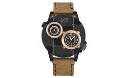 用券优惠!美国Lee双机芯计时大表盘皮带手表