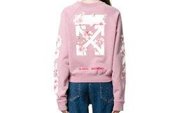 新品6.5折!美潮OFF-WHITE减速带花卉蜜蜂粉色卫衣
