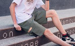 新品5折!Dusty贴布大口袋宽松直筒五分裤男工装短裤