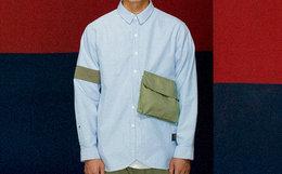 领劵!ANB GOODJOB 军事撞色贴布盖袋牛津纺男长袖衬衫