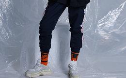 5折!THETHING串标织带字母印花收脚口运动男裤