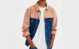 新品!PullAndBear复古拼色贴袋牛仔夹克外套